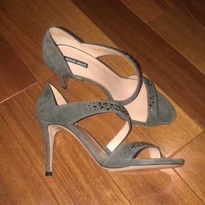 NEW Giorgio Armani gray leather suede heels 36
